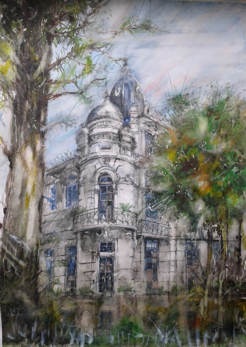 Villa hantée- Aix les Bains- dim.51x71cm