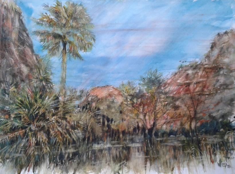 Les palmiers du canyon- dim. 74x53cm