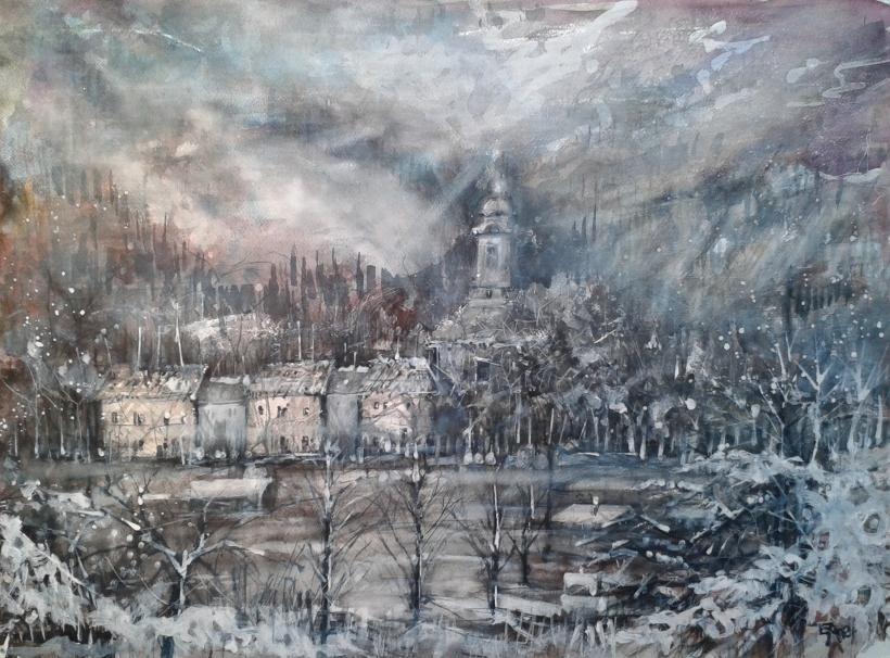 Village de chercheurs d' or abandonné en Transilvanie-dim. 73x53cm