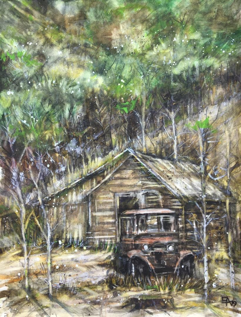 Cabane dans la forêt- dim.46x62cm (2)