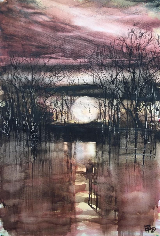 La nuit tombe sur l' étang- dim.36x53cm