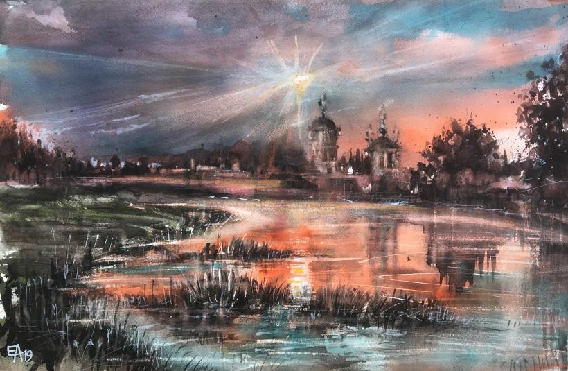 Monastère au bord du lac au crépuscule-dim. 55x36cm