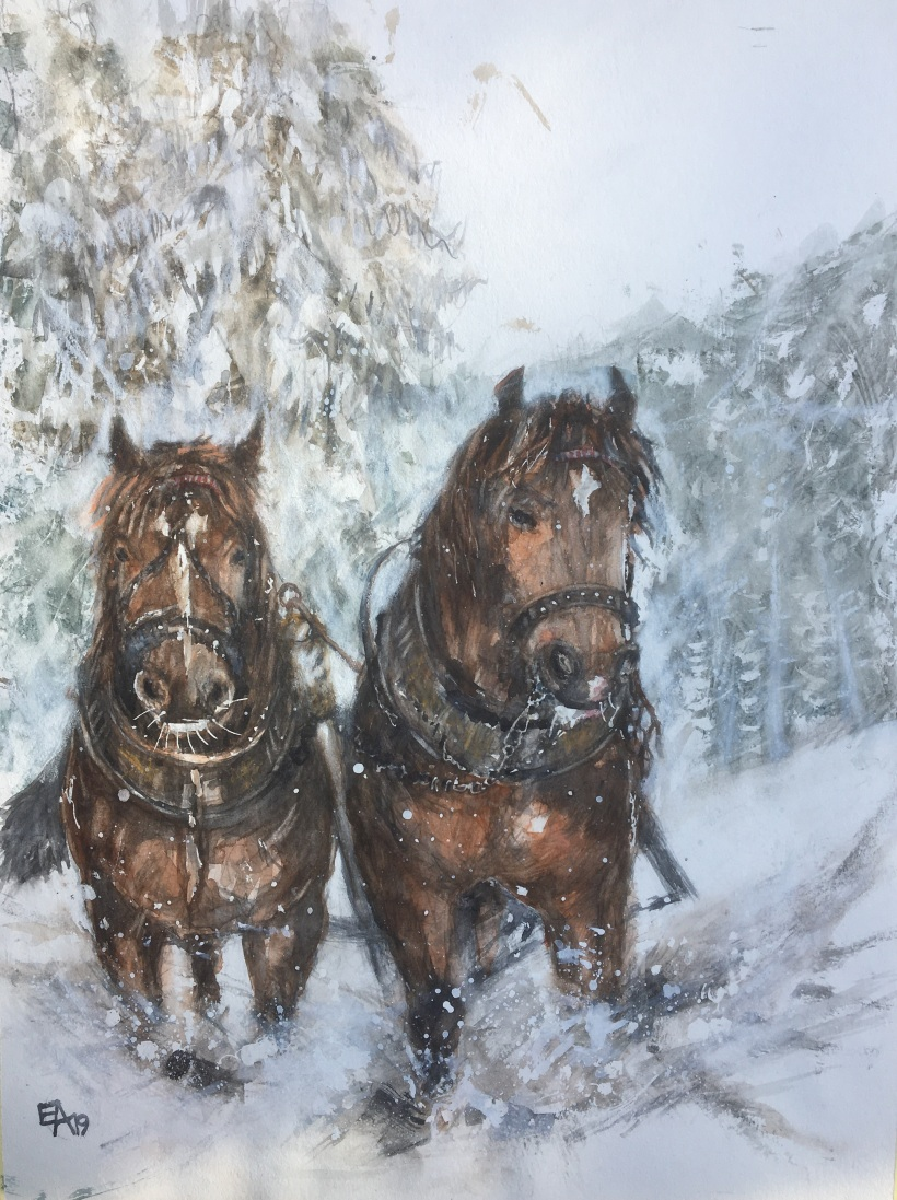 Attelage en hiver- dim. 47x62cm