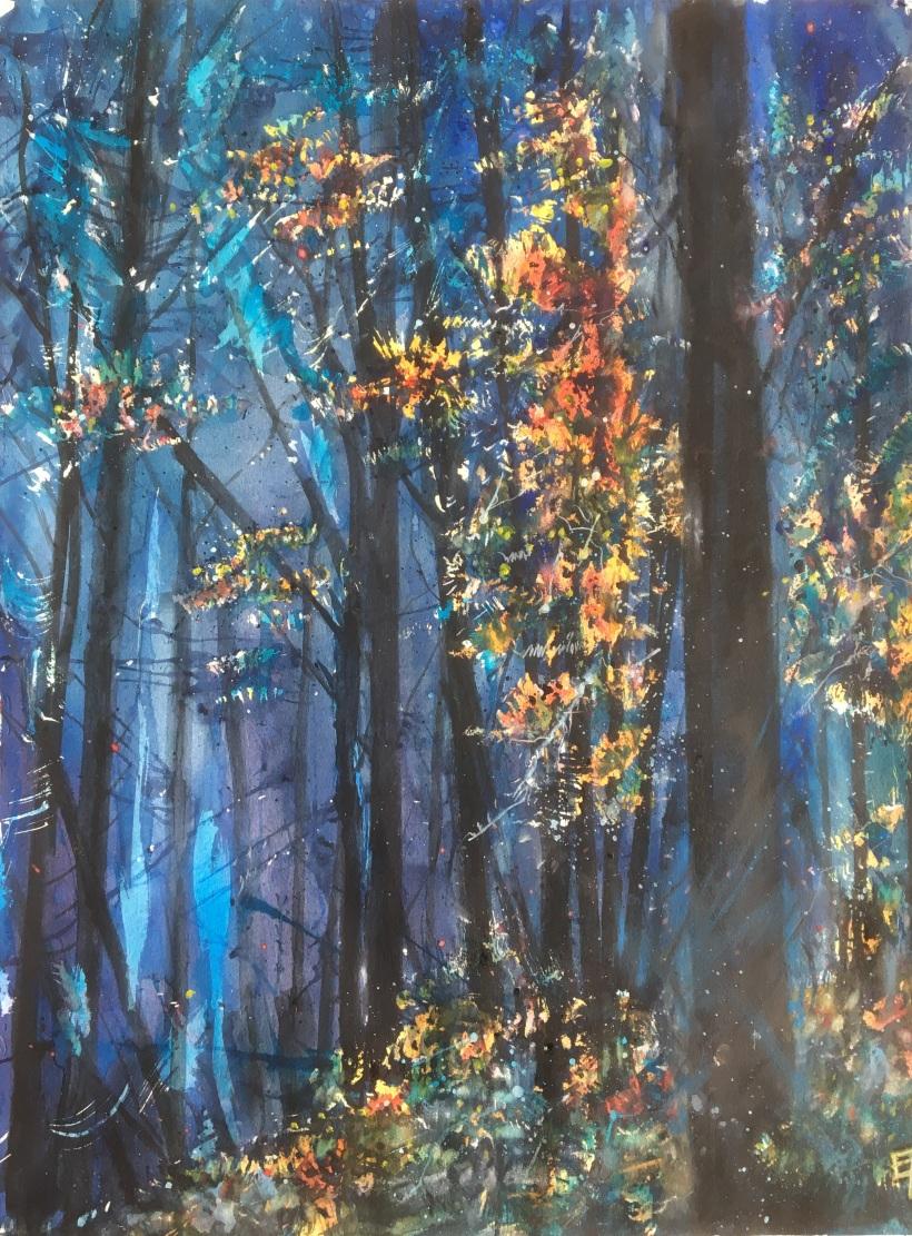Le reveil de la forêt- dim. 47x62cm (2)