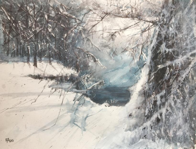 Une mélancolie d'hiver- dim.63x47cm